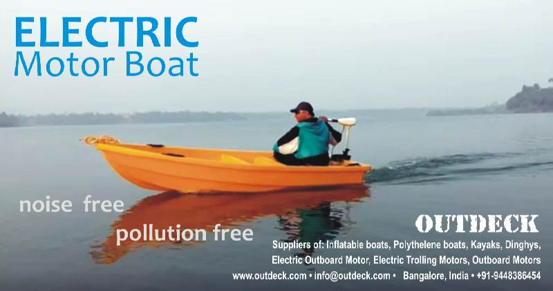 Electric boats, Tourism boats, Electric fishing boat, eco-boats, battery boats, water sport equipment in India, trolling boats
