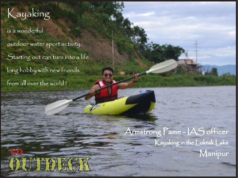 Armstrong Pame Kayaking in Loktak Lake, Manipur