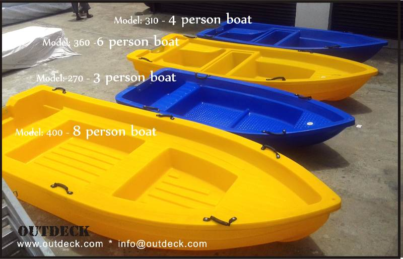 3, 4, 6 & 8 person boats for recreational boating, fishing