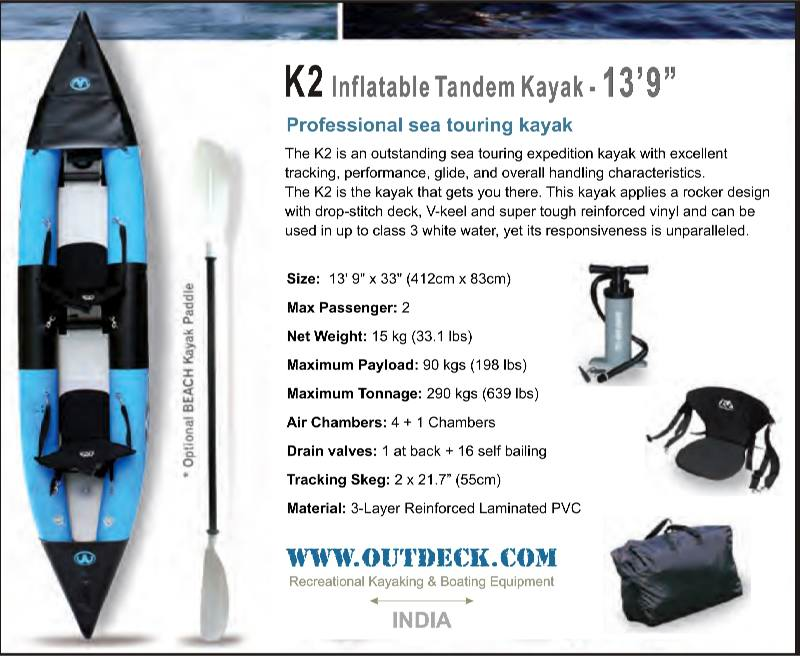 K2 Inflatable 2-person Professional Sea Touring Tandem Kayak for sale