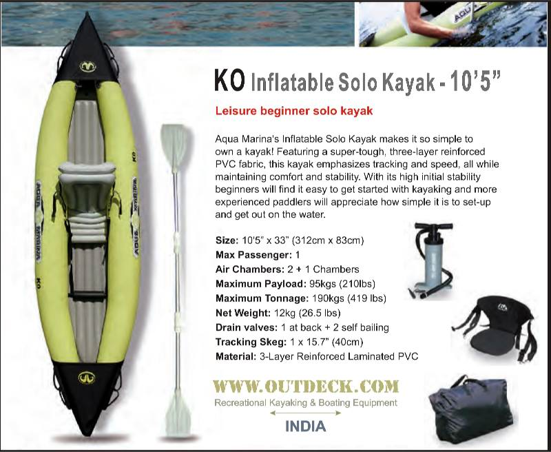 Inflatable Kayak 1 person with full kayak accessories for sale